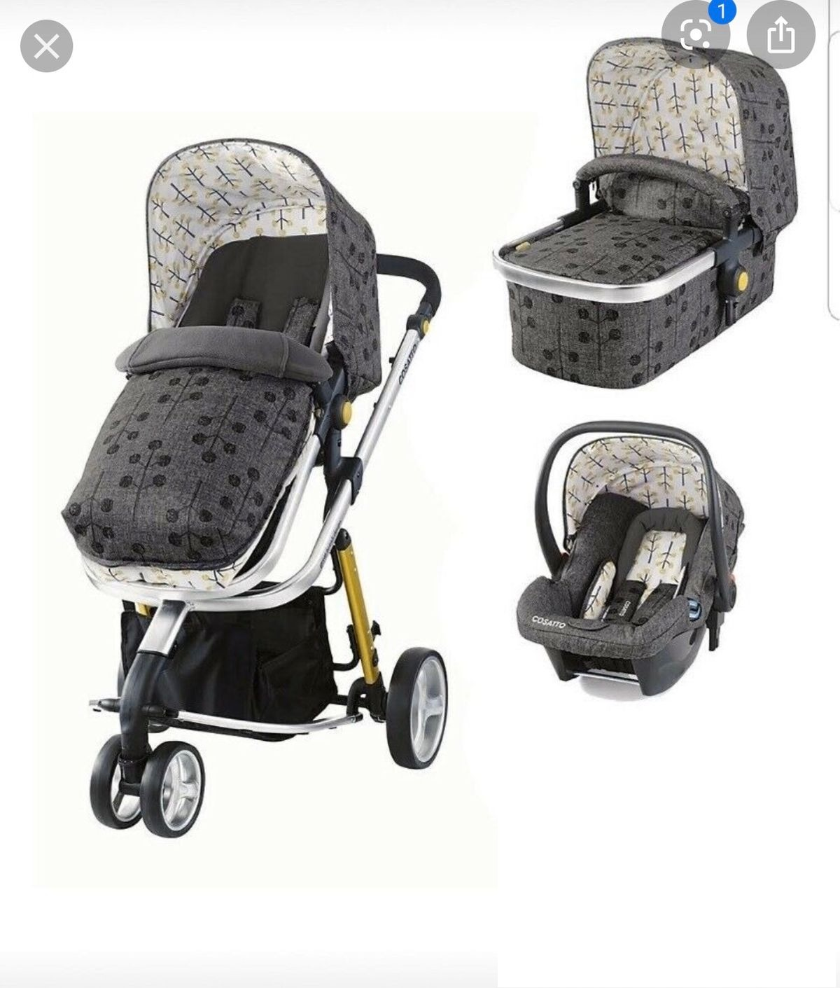 Cosatto Giggle 2 3 in 1 Travel System - Pom Pom Tree